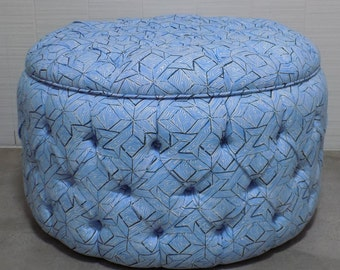 Fully Tufted Round Storage Ottoman - Design Your Own To Suit Your Space