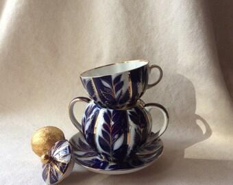 Vintage Russian Porcelain Tea Set - Lomonosov Porcelain