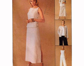"Easy Sewing Pattern Women's Box Jacket Bateau Neckline Blouse & Pants Skirt 1990s Vintage Size 12-16 Bust 34-38"" (87-97 cm) McCall's 2200 S"