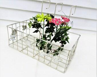 Vintage Wrought Iron Planter | Window Box Planter | Hanging Metal Basket | Large Iron Plant Hanger