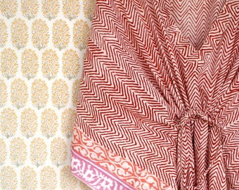 Indian Hand Block Print Super Soft Cotton Voile Organic Lounge Kaftan Red Pink on White Background Free Size