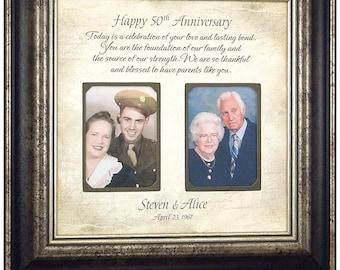 Anniversary Gift, Golden Anniversary, 50th Anniversary, Parents Anniversary Gift, Anniversary Photo Frame, Anniversary Decorations,  16x16