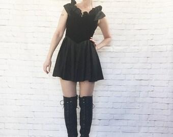 Vintage 80s Black Evil Witch Queen Princess Mini Dress Velvet Ruffled High Collar XS S