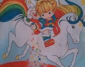 Rainbow Brite vintage twin flat bed sheet