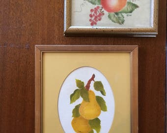 Vintage fruit on fabric paintings glass and wood frames farmhouse country kitchen shabby cottage chic home decor