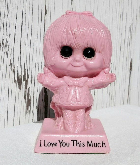 Vintage 1970 I Love You This Much Pink Plastic Figurine