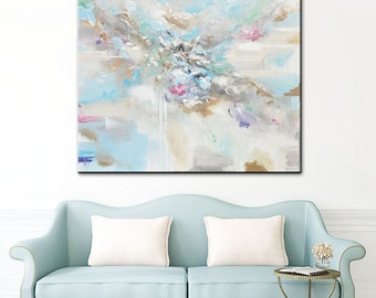 "ORIGINAL X Large Art Abstract Painting White Blue Grey Oil Painting Home Decor Wall Art Coastal Decor Grey Mint XL LARGE 48x48"" - Christine"
