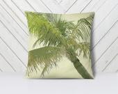 Tropical Palm Tree Throw Pillow with Pillow insert 14x14, 14x20, 16x16   beach house decor  tropical decor   living room decor   Palm Frond