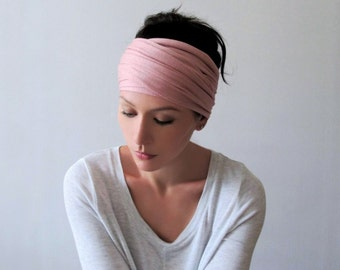 ANTIQUE PINK Head Scarf - Carnation Pink Hair wrap - Extra Wide Jersey Headband - Womens Bohemian Hair Accessories - Boho
