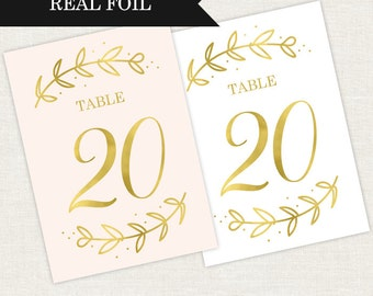Wedding Table Numbers Foil Design - Party Table Numbers - Gold Table Numbers - Gold Wedding Table Numbers - Rose Gold Table Numbers