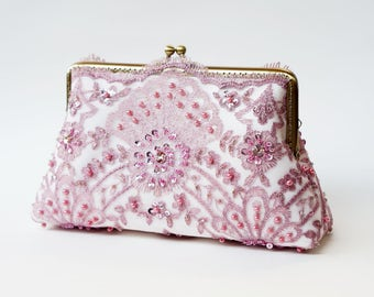Vintage gatsby inspired / Wedding Bag / Bridesmaid Clutch / Bridal clutch / Lace Purse