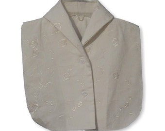 Ivory Embroidered Corduroy Shawl Collar Dickey