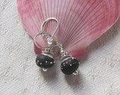 Little Black Dress Lamp Work Earrings-Artisan Matte Black with Lots of Sterling Silver Accents on Secure Sterling Lever Backs, Classic, Gift