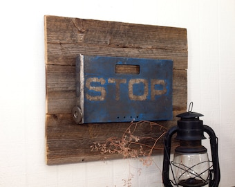 Authentic Railroad Stop Sign / Blue Flag mounted on reclaimed wood as collectible wall decor ready to hang