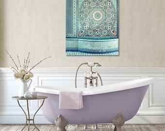 Moroccan Tiles Canvas, Blue Decor, Large Canvas Print, Moorish, Morocco Photography, Travel, Geometric, Fountain, Bathroom Decor, Mosaic