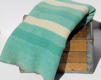 Mint green wool blanket, striped, mid century Baron Woolen Mills Blanket, Vintage Wool, beach house, cottage decor, Full queen