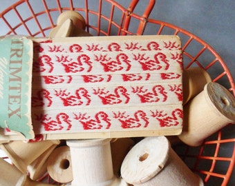 """Red Duck Embroidery Trim from the 60s, Trimtex Woven Decorative Tape, 3 Yds x 1/2"""""""