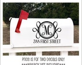 Mailbox Decals Vinyl Decor Set of Two Monogram Decals for Mailbox Curb Appeal Various Sizes and Color Lettering For Mailbox Ornate Fancy