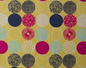 Japanese fabric - geometric polka dot fabric in canvas from Hokkoh - 1/2 YD