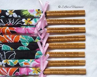 Personalised Engraved Chopsticks/ Party Gifts/Wedding Favours/Hawaiian theme (min 20 pairs)
