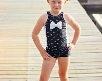 4th of July Swimsuit - Nautical Swimsuit - Girls Tankini Swimsuit - 4th of July Outfit - Toddler Swimsuit - Blue Swimsuit - White Swimsuit