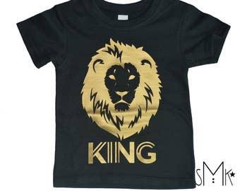 Toddler KING gold lion black tee trendy baby and toddler clothing, trendy toddler boy lion 6-12 12-18 months baby shirt cool boy clothing