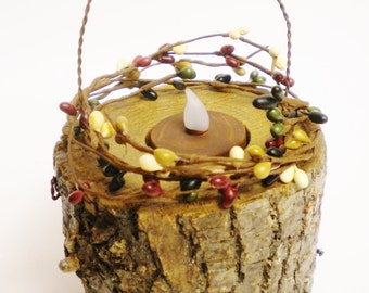 Tree Branch Tea Light Candle Lamp, Wood Candle Holders, Primitive Candle Lanterns