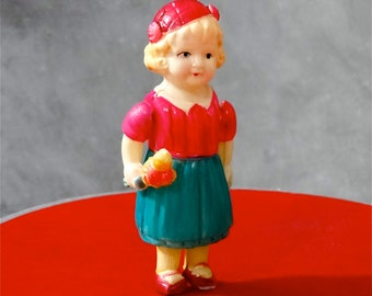 Vintage Celluloid Doll Flower Girl Bouquet Pink Hat 1940's Toy Occupied Japan
