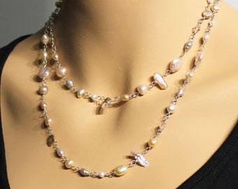 Multi Pearl Necklace-Bracelet, Sterling Silver, versatile, pink, peach, grey, golden, biwa pearls, keshi pearls, baroque pearls, gift, 3301