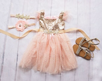Gold and Pink Birthday Outfit, Gold Pink Birthday Dress, Twinkle Twinkle Little Star Birthday Outfit, My First Birthday,First Birthday Dress
