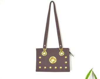 90s versace imitation shoulder bag //vintage medusa purse // gold lion head handbag