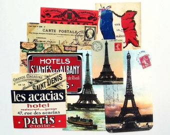 10 pcs. PARIS STICKERS - French Travel Stickers, Travel Labels from France, Eiffel Tower Stickers, Viva la France, Handmade Sticker Pack