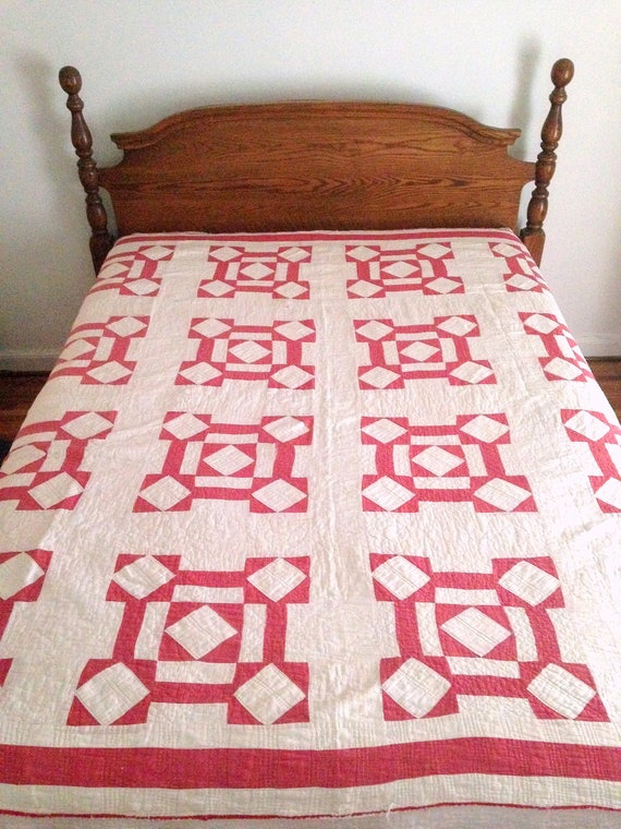 Vintage Red and White Quilt, Antique Red Quilt, Cutter Quilt, Stacker, Hand Stiched Summer Quilt, 76x78, Red and White Crafting Quilt