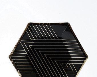 Small Black & Gold Hexagon Paper Plates - Noir- Party Decor, Style, Home, Entertaining, Winter