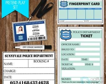 Police Pretend Play Set - Policeman Printable for Kids - Police Birthday Party - Cop Birthday Party - Police Pretend Play *Digital File*
