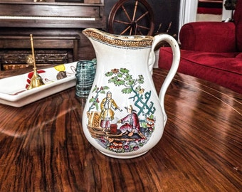 Antique 1850's Ironware Chinoiserie Water Pitcher, Hand painted with Luster Glaze