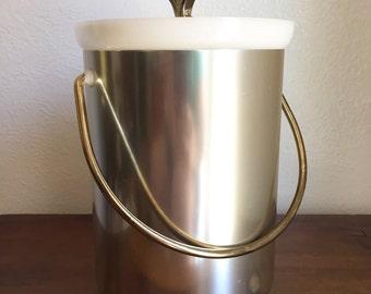 Kromex ice bucket, kromex chrome ice bucket, vintage party decor, brushed chrome ice bucket, silver colored ice bucket, atomic ice bucket
