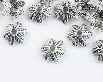 Silver Leaf Bead Caps, 11 mm - 30 pieces (FS015)