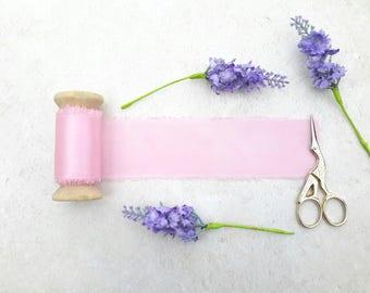 "Pale pink silk ribbon - hand dyed silk ribbon - 2"" wedding silk ribbon - 3 meters -"