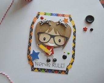 Teacher Card, Nerd Card, Teacher Appreciation, Nerd Birthday Card, Teacher Thank You Card, Back to School, Teacher Gift, Nerds Rule