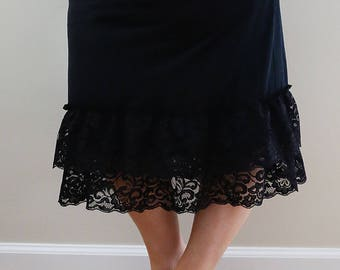 Black Lace Skirt/Dress Extender, Slip Lengthener