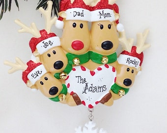 5 reindeer Family Ornament / Personalized Christmas Ornament / Family Christmas Ornament with Custom Names