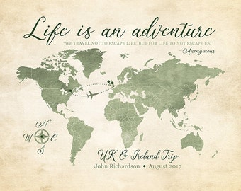 World Travel Map, Company Travel Map, Top Performers, Employee Appreciation Gifts, Gift for Boss, Manager, Golf Map, Ireland, UK | WF552