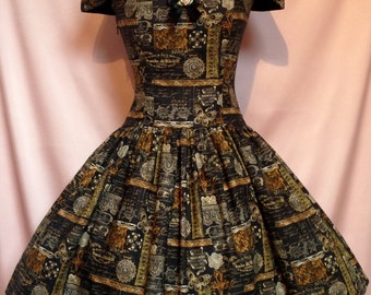 Sew Vintage...Goth Steampunk Bardot Corset Dress Made to Order