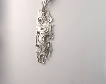 Vintage Silver Toned Aztec Mayan Style Abstract Dragon 1960s Pendant