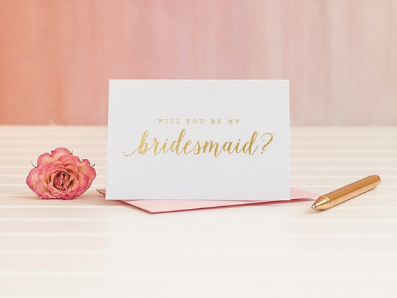 Gold Foil Will You Be My Bridesmaid card ask bridesmaid proposal bridal party gift wedding party card gold bridesmaid box invitation i do