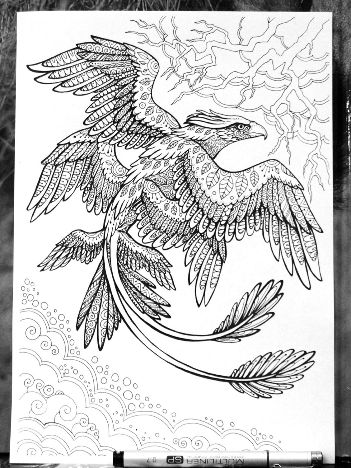 fantastic beasts coloring pages free | Frank the Thunderbird Fantastic Beasts Adult Coloring Page