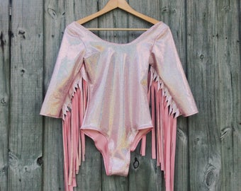 Space Cowgirl Bodysuit - Choose Color - Fringe Leotard, Holographic, Club Wear, Rave Outfit, 3/4 Sleeve