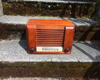 1945 Halton AM Wood Case Radio, Elec Restored