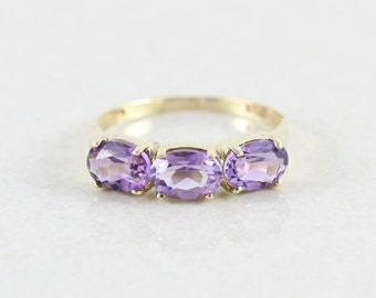 14k Yellow Gold Amethyst Ring Size 8 1/4
